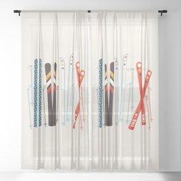 Retro Ski Illustration Sheer Curtain
