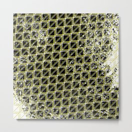 Geometric distressed pattern yellow Metal Print