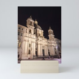 Sant Agnese Church in the Piazza Navona at night - Rome, Italy Mini Art Print