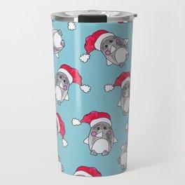 Cute Christmas Winter Penguin Watercolor Santa Hat Travel Mug