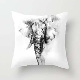 Black n White Painted elephant Throw Pillow