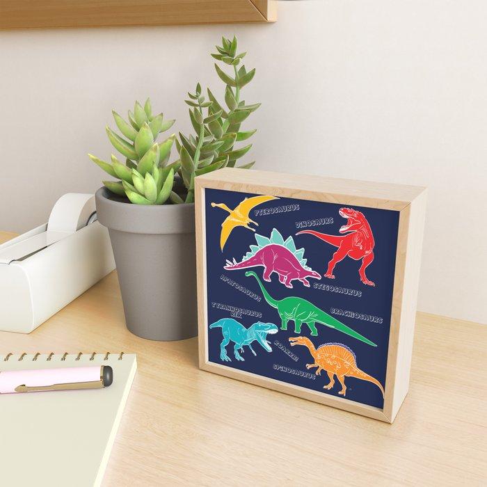 Dino Print - Navy Blue Framed Mini Art Print