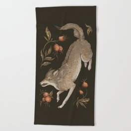 The Wolf and Rose Hips Beach Towel