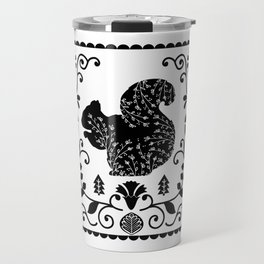 Woodland Folk Black And White Squirrel Tile Travel Mug