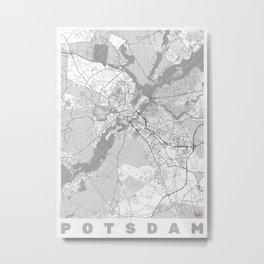 Potsdam Map Line Metal Print
