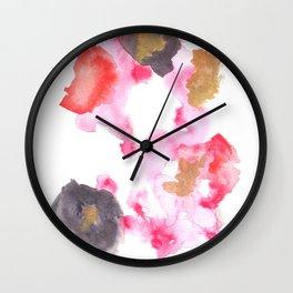 Watercolor Pink Black Flow   [dec-connect] 26. lesion Wall Clock