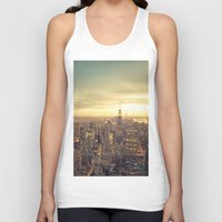 skyline Tank Tops featuring New York Skyline Cityscape by Vivienne Gucwa