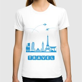 Travel concept with landmarks T-shirt