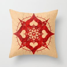 lianai hearts redstone mandala Throw Pillow