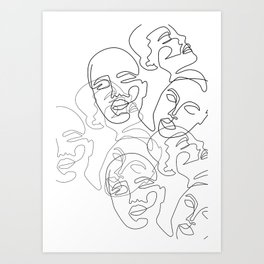 Lined Face Sketches Art Print