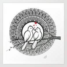 Love Nest , Love Birds Romantic Black and White Mandala Ink Drawing Art Print