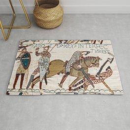 Battle of Hastings- Bayeux Tapestry King Harold Is Killed Arrow In Eye Rug