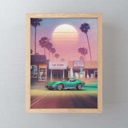 Synthwave Sunset Drive Framed Mini Art Print