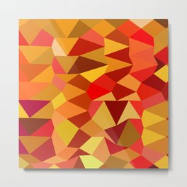 Coquelicot Red Abstract Low Polygon Background Metal Print