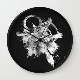 London, United Kingdom Black and White Skyround / Skyline Watercolor Painting (Inverted Version) Wall Clock