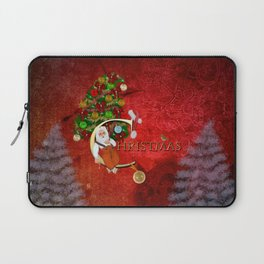 Christmas, Santa Claus with christmas tree Laptop Sleeve