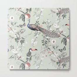 Oriental Peacock Toucan Floral Pattern Metal Print