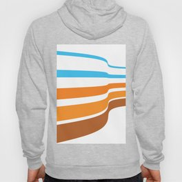 BLUE, ORANGE  AND BROWN LINES  ON A WHITE BACKGROUND Abstract Art Hoody