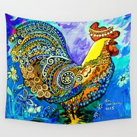 chicken Wall Tapestries featuring Crazy Chicken by Teri Newberry