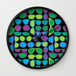 Sunglasses Pattern in Cool Colos Wall Clock