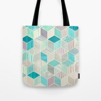 bedding Tote Bags featuring Vacation Patchwork by micklyn