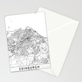 Edinburgh White Map Stationery Cards