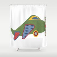 airplane Shower Curtains featuring Kids Airplane by ZaMo Arts