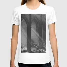 Rays of Light through Cathedral Windows black and white photograph T-shirt