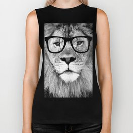 Hippest Lion with glasses - Black and white photograph Biker Tank
