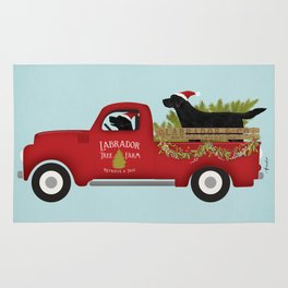 Black lab dog labrador christmas tree farm vintage red truck Rug
