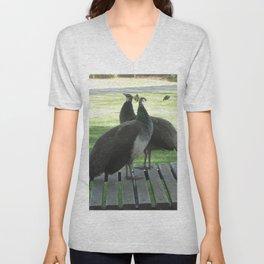 Peafowl on table Unisex V-Neck