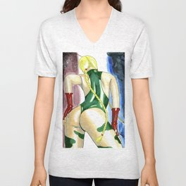 Red / White / Blue (Cammy Street Fighter Watercolor) Unisex V-Neck