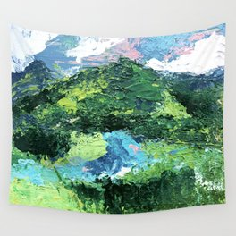 Gunnison: a vibrant acrylic mountain landscape in greens, blues, and a splash of pink Wall Tapestry