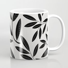 Black and White Plant Leaves Pattern Coffee Mug