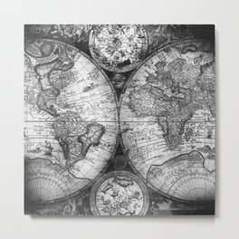 World Map Antique Vintage Black and White Metal Print