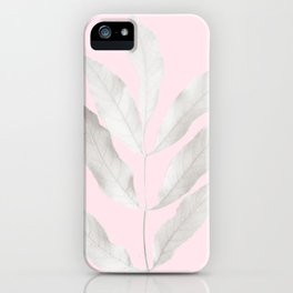 White gum leaves on pink iPhone Case