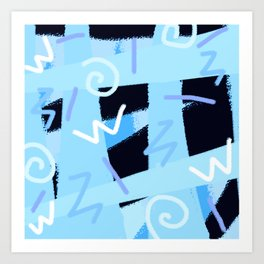 vintage 90s craze blue Art Print