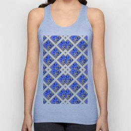 ABSTRACTED BLUE & GOLD PATTERN  CALLA LILIES  DESIGN Unisex Tank Top