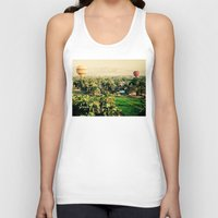 hot air balloons Tank Tops featuring Hot Air Balloons Before Mountains  by Limitless Design