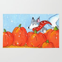 Wolf in the Pumpkin Patch Rug