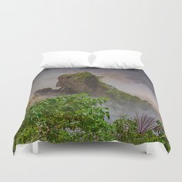 Rock showing in the waterfall Duvet Cover