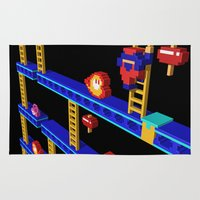 donkey kong Area & Throw Rugs featuring Inside Donkey Kong stage 4 by Metin Seven