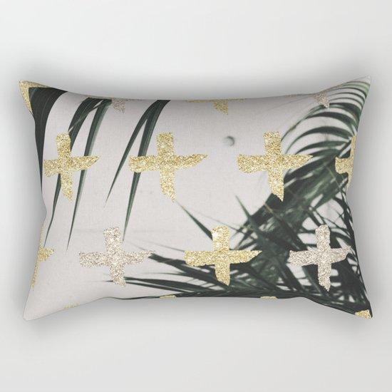 Palms with gold cross Rectangular Pillow