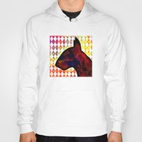 bull terrier Hoodies featuring Bull Terrier Jester by Erin Conover