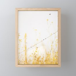 birds on a wire Framed Mini Art Print