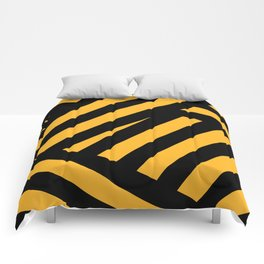 Black and yellow abstract striped Comforters