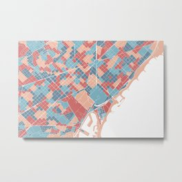 Colorful Barcelona map Metal Print
