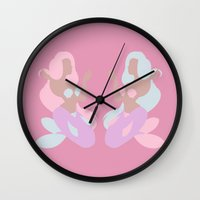 mermaids Wall Clocks featuring Mermaids by Polvo