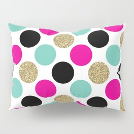 Pink, Aqua, Gold, and Black Mega Dots Pattern Pillow Sham