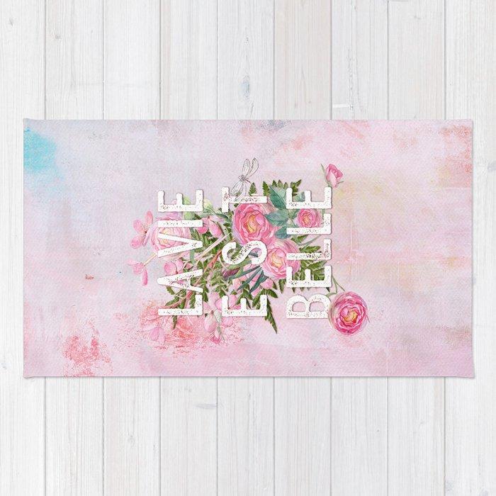 Lavie est belle watercolor pink flowers roses rose flower rug lavie est belle watercolor pink flowers roses rose flower rug mightylinksfo